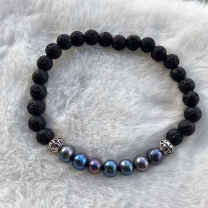 Blue fresh water pearl & lava rock beads